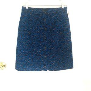 Banana Republic Leopard Print Blue Button Up Skirt